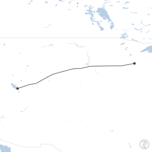 Map of flight plan from KSGS to KSLC