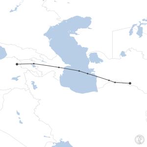 Map of flight plan from UTAA to LTCF