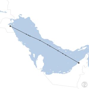 Map of flight plan from OKBK to OMDB