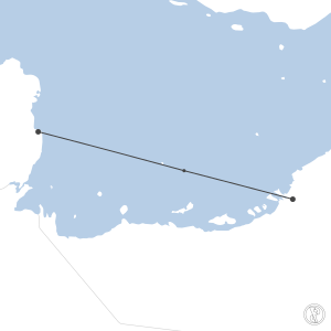 Map of flight plan from OTBD to OMAA