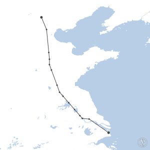 Map of flight plan from ZBAA to ZSPD