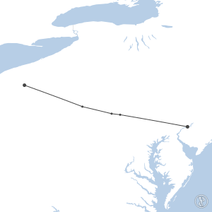 Map of flight plan from KYNG to KPHL