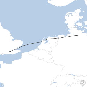 Map of flight plan from EGKK to EDDH