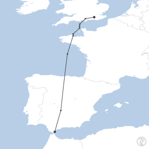 Map of flight plan from EGKK to LXGB