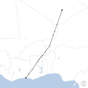 Map of flight plan from DAAT to DIAP