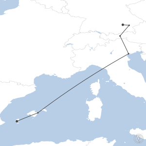 Map of flight plan from LEIB to EDDM