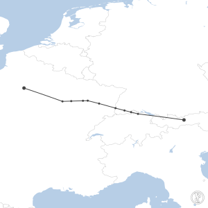 Map of flight plan from LOWI to LFPG