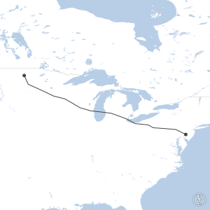 Map of flight plan from KPHL to KRDR