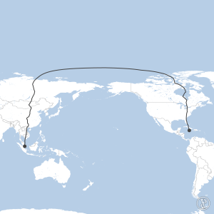 Map of flight plan from MKJS to WSSS