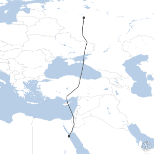 Map of flight plan from UUEE to HEGN