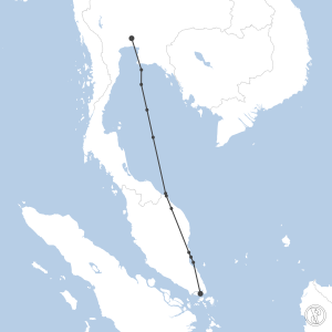 Map of flight plan from VTBD to WSSS