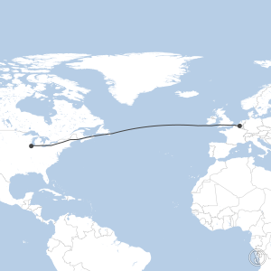 Map of flight plan from KORD to EBBR