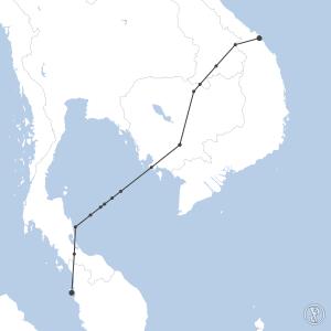 Map of flight plan from WMKP to VVDN