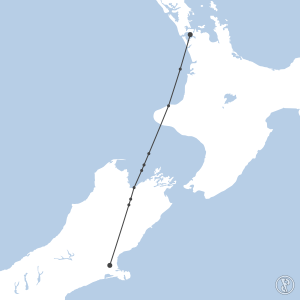 Map of flight plan from NZCH to NZAA