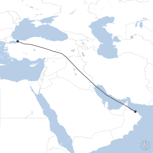 Map of flight plan from LTFJ to OOMS