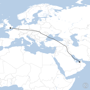 Map of flight plan from OMAA to EGLL