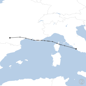 Map of flight plan from LFBO to LIRF
