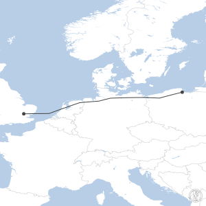 Map of flight plan from EPGD to EGSS