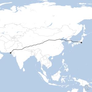 Map of flight plan from OPKC to RJTT