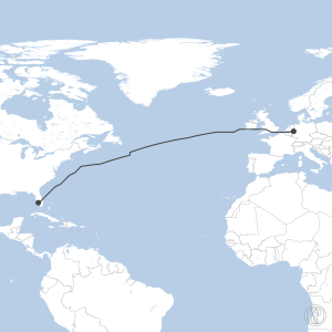 Map of flight plan from KRSW to EDDL