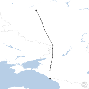 Map of flight plan from UUEE to URSS