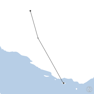 Map of flight plan from OISS to OIBK