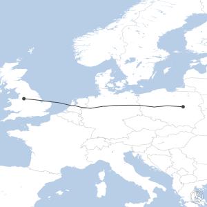 Map of flight plan from EGCC to EPWA