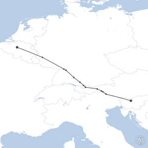 Map of flight plan from EBBR to LJLJ