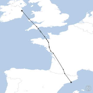 Map of flight plan from LEBL to EIDW
