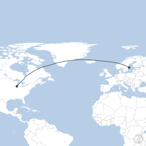Map of flight plan from ESSA to KORD