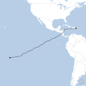 Map of flight plan from MDPC to NTAA