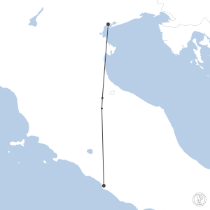 Map of flight plan from LIRF to LIPZ