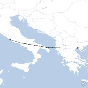 Map of flight plan from LIRF to LGTS