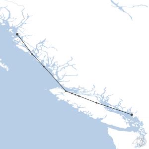 Map of flight plan from CYVR to CYPR