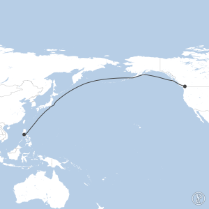 Map of flight plan from CYVR to RPLL