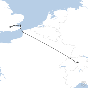 Map of flight plan from LSZC to EGKB