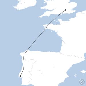 Map of flight plan from LPPT to EGLL