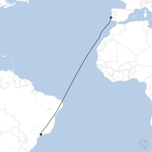 Map of flight plan from LPPT to SBGR