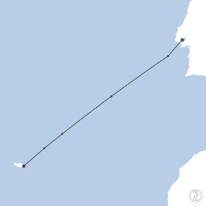 Map of flight plan from LPPT to LPMA