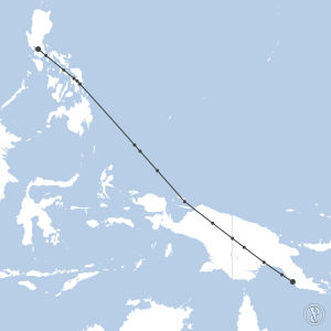 Map of flight plan from AYPY to RPLL