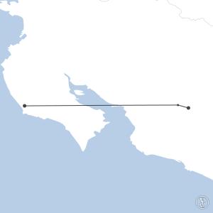 Map of flight plan from MRPV to MRNS