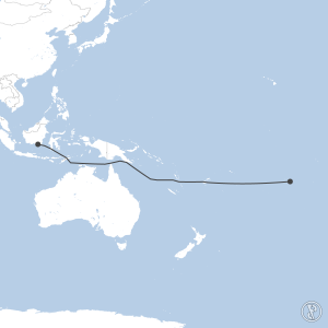 Map of flight plan from NTAA to WAOO