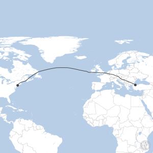 Map of flight plan from LTBA to KJFK