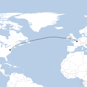 Map of flight plan from LFPG to KDCA