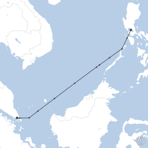 Map of flight plan from RPLL to WSSS