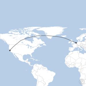 Map of flight plan from EHAM to KSFO