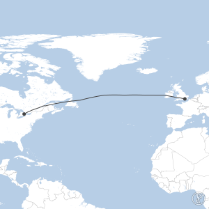 Map of flight plan from CYYZ to EGKK
