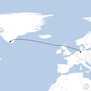 Map of flight plan from EDDW to BGBW