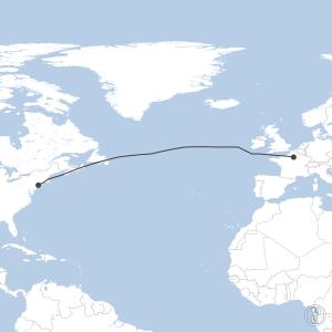 Map of flight plan from KJFK to LFPG