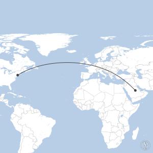 Map of flight plan from KJFK to OERK